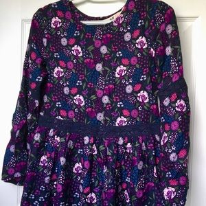 Purple floral kids casual dress